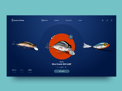 Fishing Ecommerce Website interaction design dark background user experience user interface webpage design slider product card catalog online shopping website web ecommerce fishing fish interaction interface ui ux graphic design design
