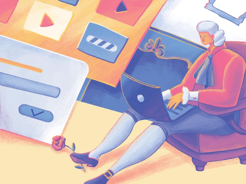 Moonworkers: Creating Profile Illustration profile app design web design user interface design studio digital illustration art technology character design digital painting interface illustration user experience digital art illustration ux ui graphic design design
