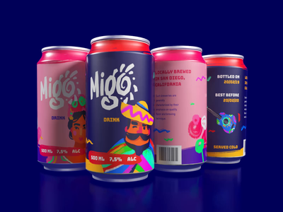 Migo Drink Packaging Design animation typography interaction design studio product branding marketing digital art character design identity design bright party fizzy drink can design drink packaging design logo branding illustration graphic design design