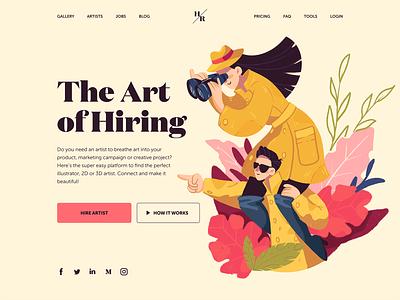 Hiring artist website design illustration 4x