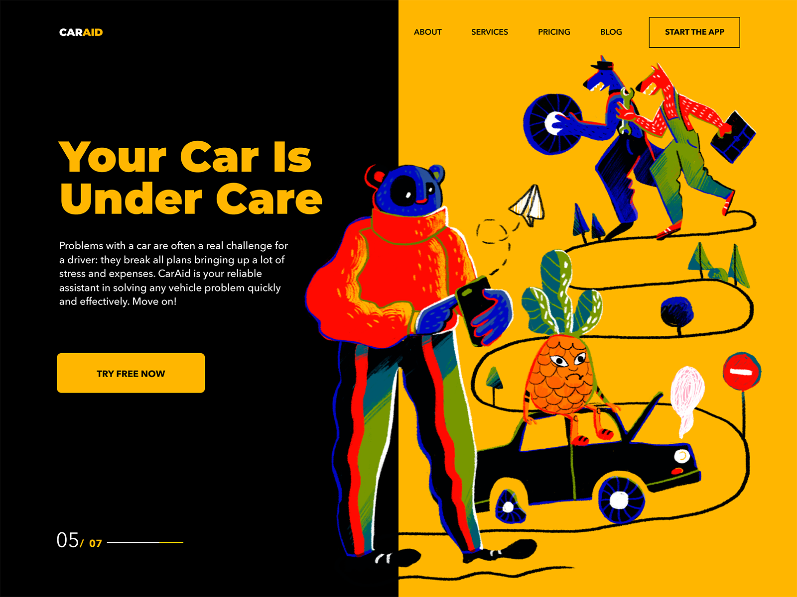 Car aid landing page design tubik