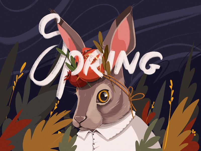 Spring Rabbit Illustration hero illustration theme illustration creative  design nature lettering digital illustration digital painting animal spring rabbit art character design studio digital art illustration graphic design design