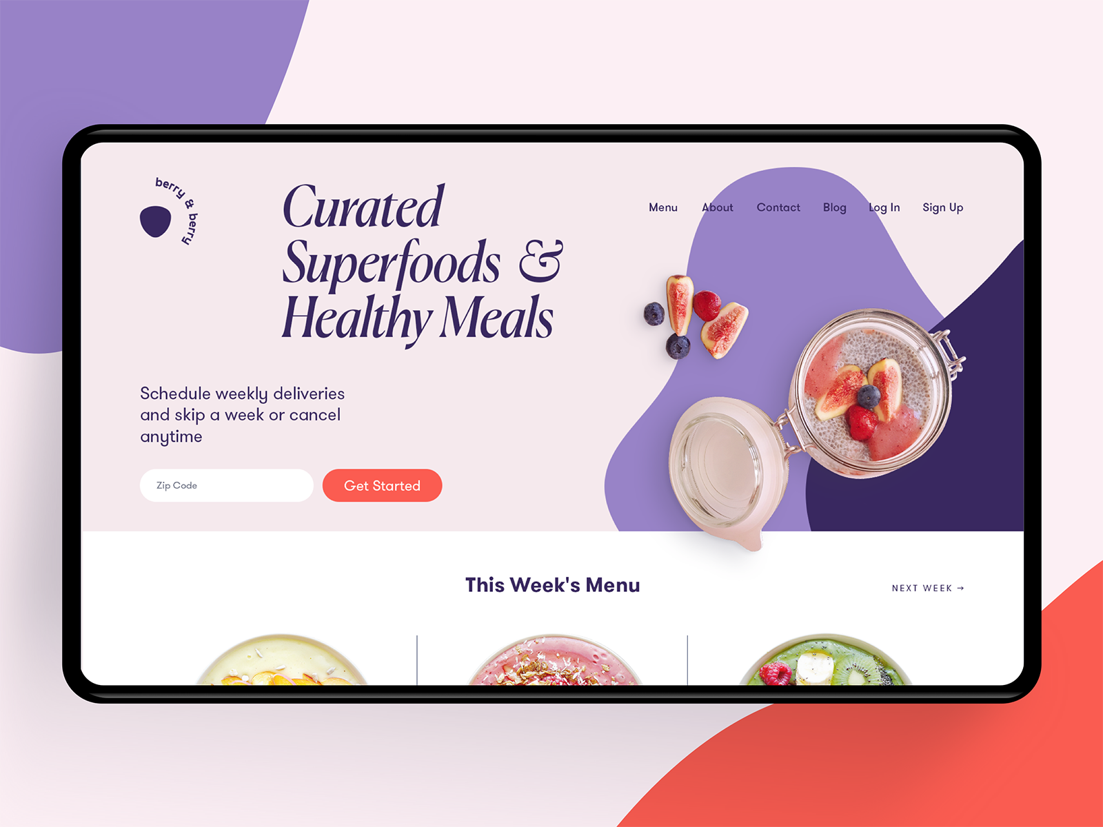 Healthy meals delivery service website tubik