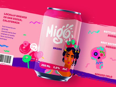 Party Drink Can Design logo bright colors digital illustration character marketing packaging design can design branding concept drink brand food and drink identity branding design studio illustration digital art graphic design design