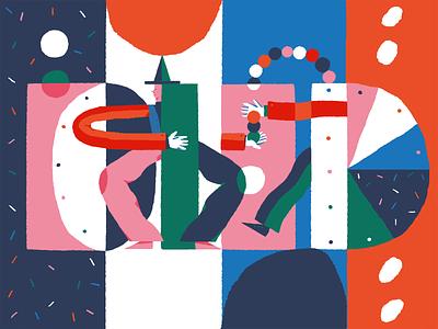 Juggling Colors Illustration color user experience experimental design circus creative illustration creative  design digital painting blog illustration digital illustration character interaction web digital art design studio illustration ui ux graphic design design