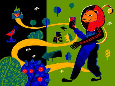 Reach Your Goal Illustration forest creative  design digital painting cartoon map navigation user experience creative illustration digital illustration lion character interaction web digital art design studio illustration ui ux graphic design design