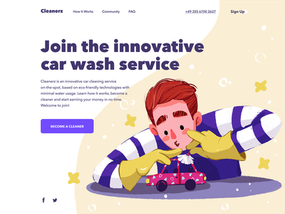 Car Wash Service Website webdesign landing page user interface auto cleaning service car service car user experience website character interaction web digital art design studio interface illustration ui ux graphic design design