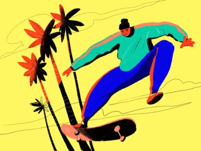 Bright Skateboarder Illustration