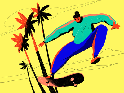 Bright Skateboarder Illustration art character digital illustration creative  design procreate art digital painting outdoors jump active life weekend sport skateboarder skateboarding summer procreate digital art design studio illustration graphic design design