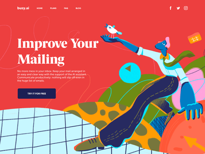 Mail Management Landing Page bright user interface bird landing page user experience mail productivity hero illustration web design character interaction web digital art design studio interface illustration ui ux graphic design design