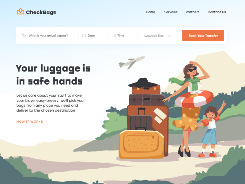 Luggage Delivery Service web design family delivery luggage hero image landing page travel user experience website character web interaction digital art design studio interface ui illustration ux graphic design design