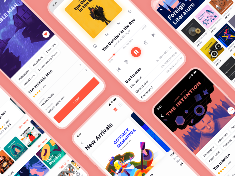 ABUK: Audiobooks App UI book cover ecommerce interaction design audiobook book player user interface mobile app design branding user experience app mobile digital art design studio interface illustration ui ux graphic design design