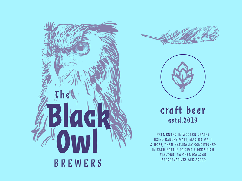 Black Owl Brewery Identity Concept promotion marketing label design brewery brand design bird packaging logo identity beer owl branding digital art design studio illustration graphic design design