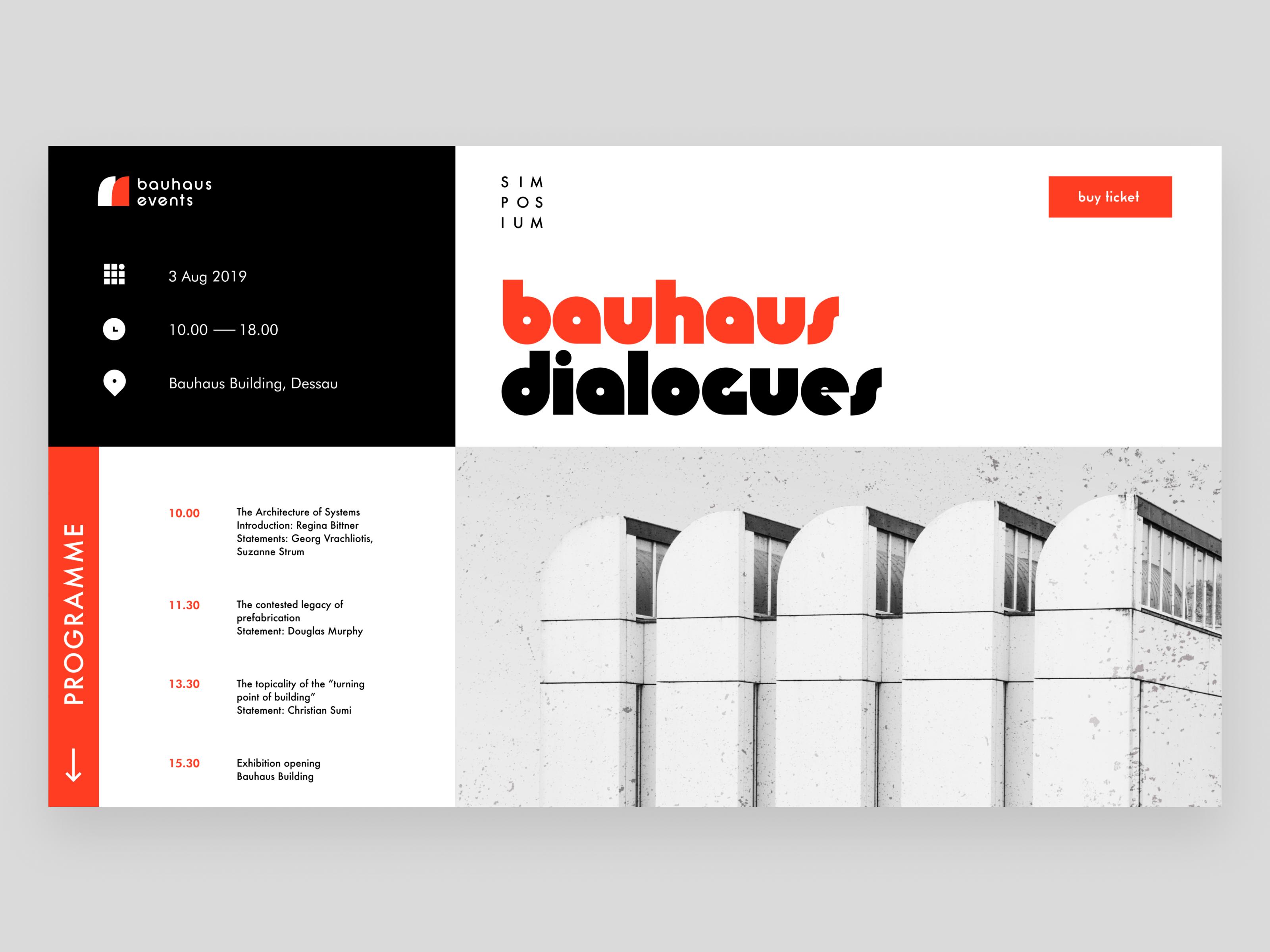 Bauhaus events landing page design tubik