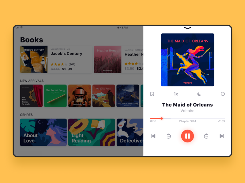 Audiobook Store UI for iPad player book app design user experience audiobook bookstore app interaction ipad digital art design studio interface illustration ux ui graphic design design