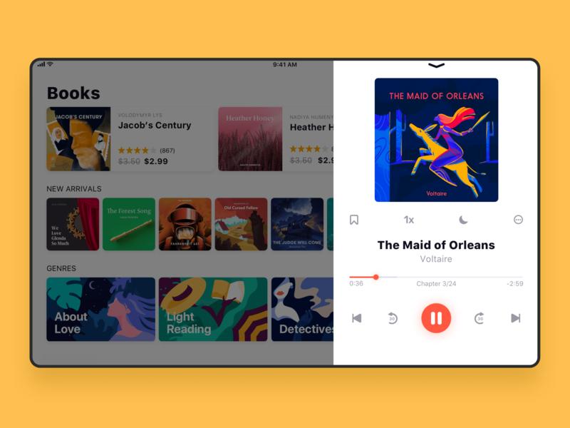 Audiobook Store UI for iPad player book app design user experience audiobook bookstore app interaction ipad digital art design studio interface illustration ux ui graphic design design