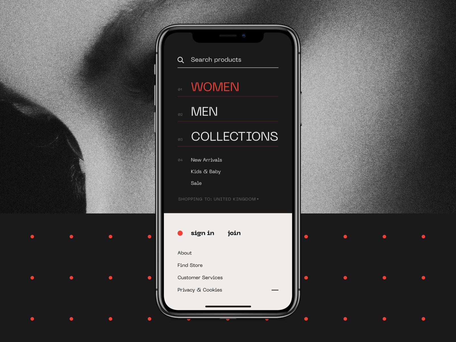 Mobile ecommerce app menu screen tubik
