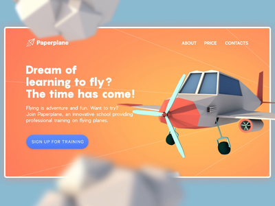 Flying School Landing Page interaction design interface illustration ui ux design studio web marketing hero image web design web landing page origami airplane plane motion design animation 3d animation 3d graphic design design