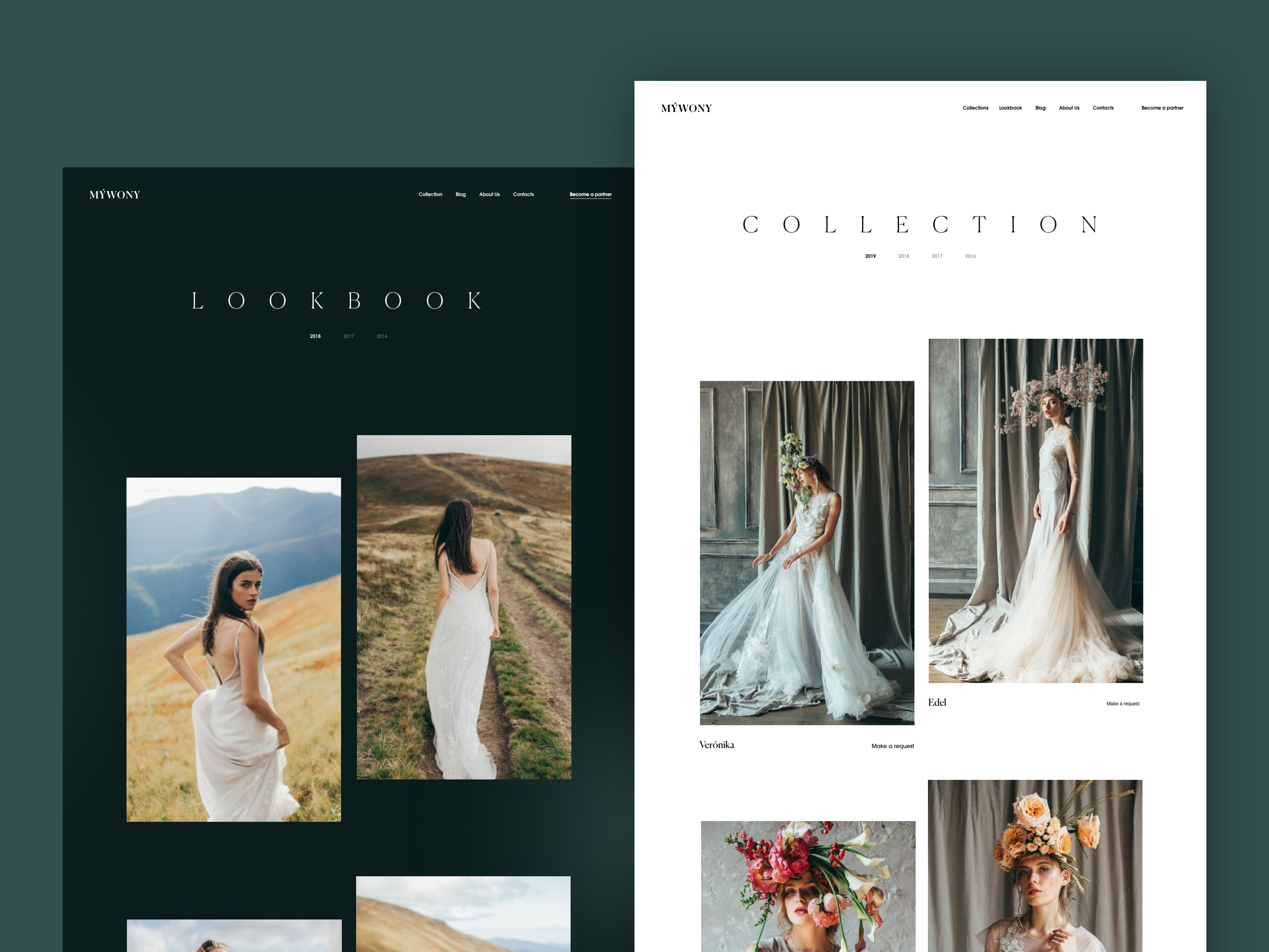 Mywony website lookbook collections tubik