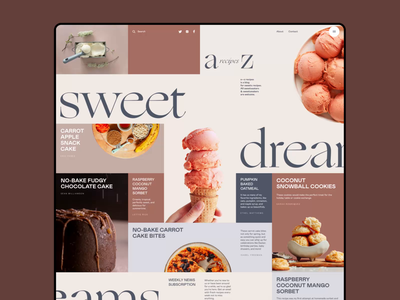 Dessert Recipes Blog interaction cooking grid layout website design web design blog design recipe blog sweets dessert interface user experience mobile animation web design studio ui ux graphic design design