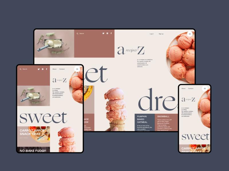 Dessert Recipes Blog Design grid web interface responsive design sweets dessert cooking blog recipe web design user experience interaction ipad web mobile interface design studio ui ux graphic design design