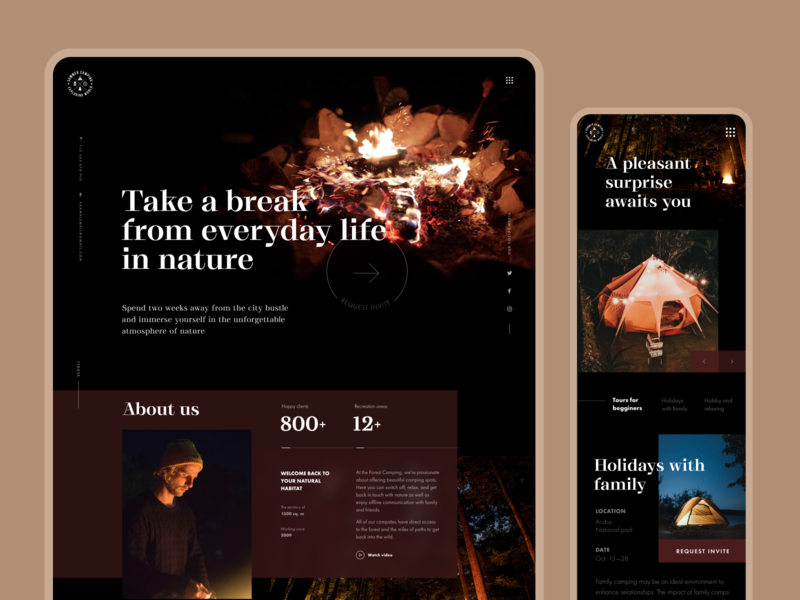 Forest Camping Website interaction design holidays outdoors web interface user interface website design responsive design web design company website camping user experience interface web interaction design studio ui ux graphic design design