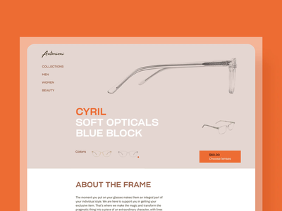 Glasses Ecommerce Product Page web interface online shopping glasses grid motion design product page ecommerce web design web animation website user experience web animation interaction design studio interface ui ux graphic design design