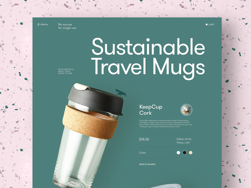 Eco Mug Product Page webpage design product page web interface web design reusable mug cup ecommerce ecology eco website user experience web interaction design studio interface ui ux graphic design design
