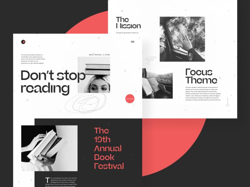 Book Festival Website Design festival website user interface web interface reading books contrast minimalism website design event website web design user experience web interaction design studio interface ui ux graphic design design