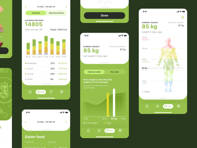 Calorie Calculator Stats user inteface health infographic statistics stats mobile screens nutrition food calories mobile app app design mobile user experience interaction design studio ux ui interface graphic design design