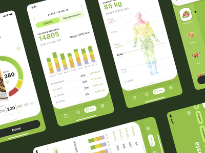 Calorie Calculator Stats Animation statistics ui animation motion graphics motion design stats nutrition food calories app design mobile user experience animation interaction illustration interface ui ux design studio graphic design design