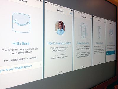 GAget Intro screens gaget ios ios7 google analytics intro introduction tutorial