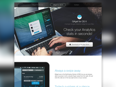 GAget for OS X gaget osx landing app website google google analytics stats widget mac
