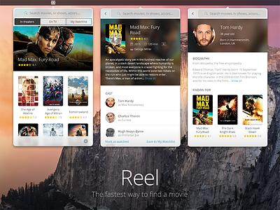 Reel - Find a movie in the menu bar concept menubar mac osx app movie