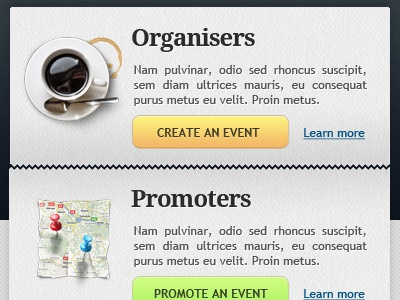 Organize, promote. sections button