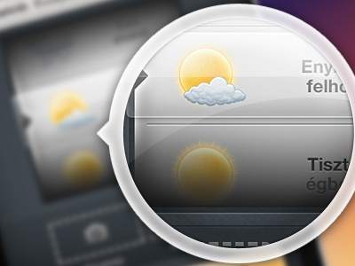 Scroller weather icons sun clouds glass select
