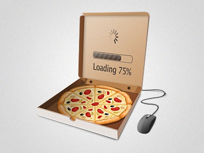 Food delivery system logo pizza laptop logo