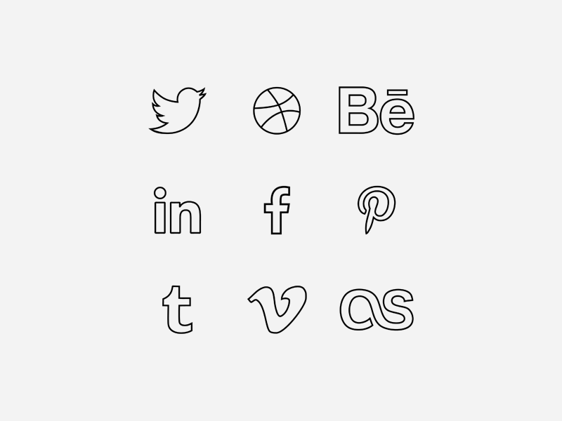 Free Line Icons EP free icons ico web ui social ep line icons twitter behance linkedin facebook