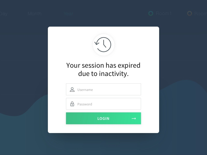 Session Expired Login-Screen analytics chart data dashboard popup login screen ui app form login overlay