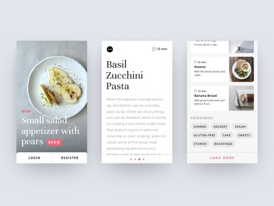 Mobile layout of a food blog app by jonas arleth dribbble mobile layout of a food blog app forumfinder Gallery