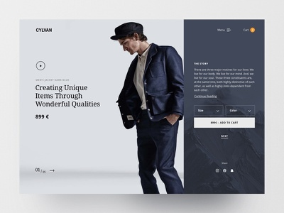 Cylvan Fashion E-Commerce Product Page webdesign design ui website web design responsive fashion online shop layout ecommerce product landingpage