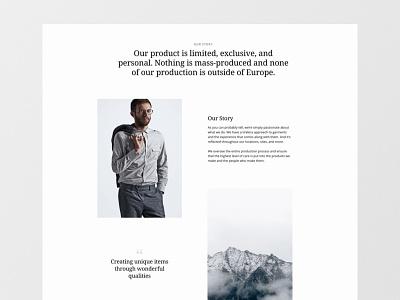 Fashion Brand About Page Online Shop webdesign design ui website web design responsive fashion online shop layout ecommerce product landingpage