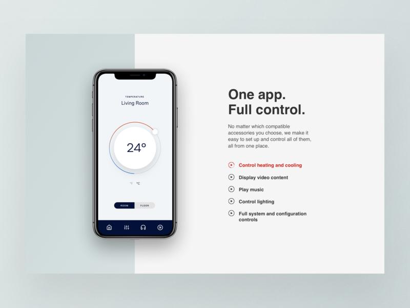 Full Control Smart Home Website Layout control webdesign design ui website web design cooling temperature interface layout smart home app
