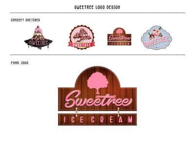 Sweetree Logo ribbon design typography colorful colors sign sketch love logo design adobe photoshop adobe illustrator vector art vector brand ice cream icecream lettering logotype logos logo