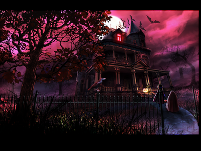 RedRums moody digital illustration digital painting red haunted house spooky halloween illustration colorful adobe photoshop