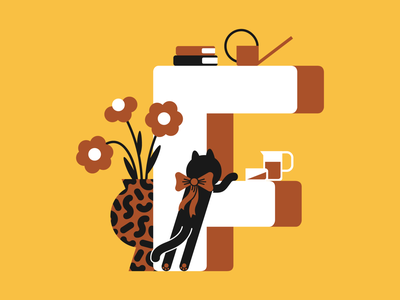 36 days of type - letter F art vector typogaphy type plants letter interior illustration cat 36daysoftype 36days-adobe