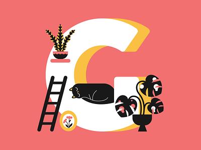 36 days of type - letter G art vector typogaphy type plants letter interior illustration cat 36daysoftype 36days-adobe