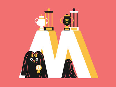 36 days of type - letter M poodle art vector typogaphy type plants letter interior illustration 36daysoftype 36days-adobe