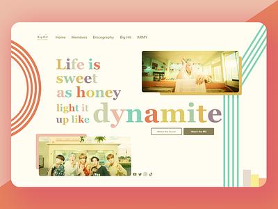 BTS 'Dynamite' Landing Page UI ui landing page pink bts