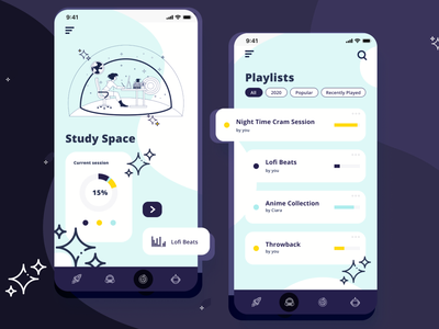 Study Space studying space mockup user interface mobile ui design